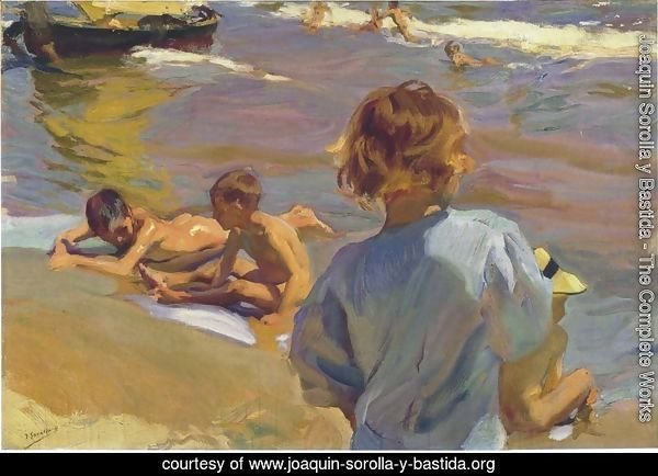 Ninos en la playa (Valencia) (Children on the Beach (Valencia))