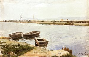 Joaquin Sorolla y Bastida - Three Boats By A Shore