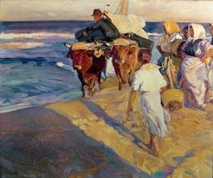 Joaquin Sorolla y Bastida - Towing in the boat, Valencia Beach, 1916