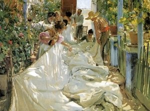 Joaquin Sorolla y Bastida - Mending the Sail, 1896