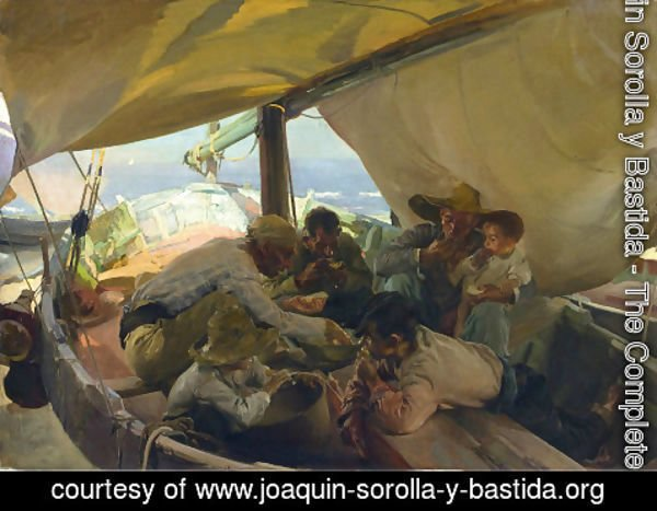 Joaquin Sorolla y Bastida - Lunch on the Boat, 1898