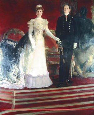 Joaquin Sorolla y Bastida - Portrait of King Alfonso XIII of Spain, and his mother, Queen Maria Christina