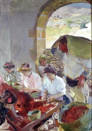 Joaquin Sorolla y Bastida - Preparing the Dry Grapes, 1890