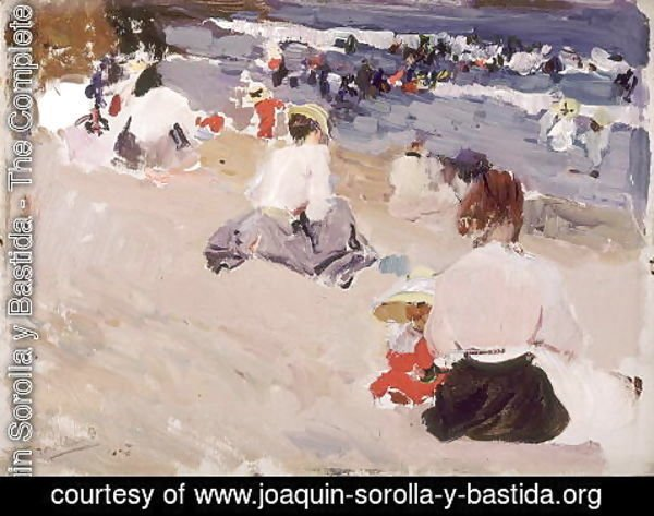 Joaquin Sorolla y Bastida - People Sitting on the Beach, 1906
