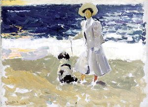 Joaquin Sorolla y Bastida - Lady and Dog on the Beach, 1906
