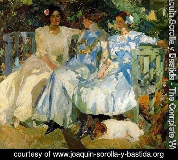 Joaquin Sorolla y Bastida - My wife and my daughters in the garden