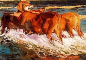 Joaquin Sorolla y Bastida - Oxen (Study for 'sun in the afternoon')