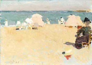 Joaquin Sorolla y Bastida - En La Playa, Biarritz (On The Beach, Biarritz)