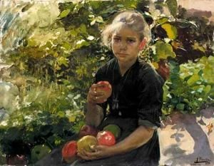 Joaquin Sorolla y Bastida - Nina Comiendo Manzanas (Young Girl Eating Apples)
