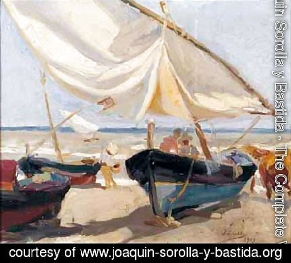 Joaquin Sorolla y Bastida - Barcas En La Playa (Boats On The Beach)