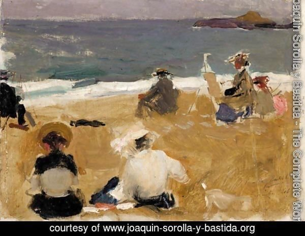 Pintando En La Playa De Biarritz (Painting On Biarritz Beach)