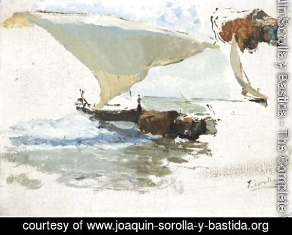 Joaquin Sorolla y Bastida - Beaching The Boat, Study For 'La Vuelta De La Pesca'