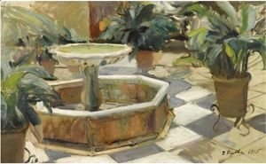 Fountain In A Courtyard, Seville