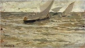 Joaquin Sorolla y Bastida - Boats Leaving The Harbour, Asturias