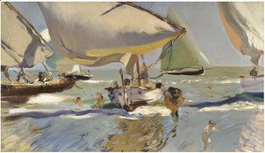 Joaquin Sorolla y Bastida - Boats On The Shore
