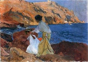 Joaquin Sorolla y Bastida - Clotilde Y Elena En Las Rocas, Javea (Clotilde And Elena On The Rocks, Javea)