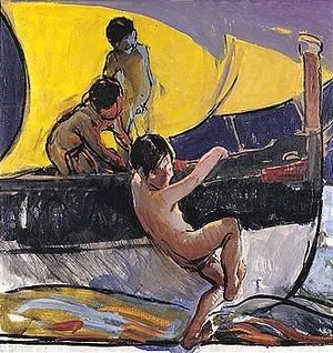 Ninos Jugando En Una Barca (Children Playing In A Boat)