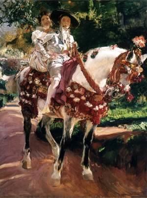 Joaquin Sorolla y Bastida - Elena and Maria in Old-Fashioned Valencian Costume