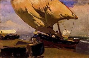 Joaquin Sorolla y Bastida - Dragging the trawler