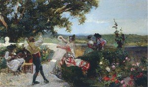 Joaquin Sorolla y Bastida - Valencian dance in an orange grove
