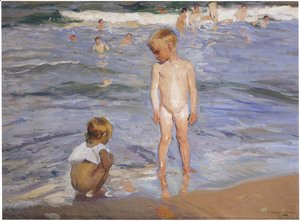 Joaquin Sorolla y Bastida - Children bathing in the afternoon sun