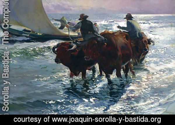 Joaquin Sorolla y Bastida - Bulls in the Sea