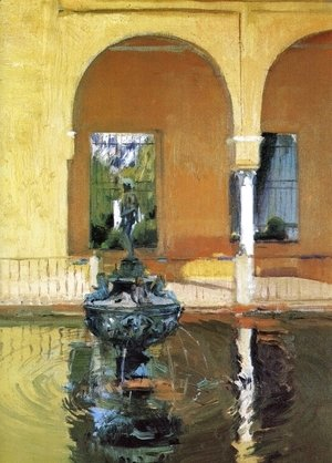 Joaquin Sorolla y Bastida - The Fountain in the Alcazof Seville