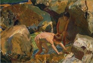 Joaquin Sorolla y Bastida - Looking for Shellfish