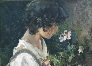 Joaquin Sorolla y Bastida - Italian Girl with Flowers