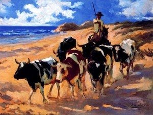 Joaquin Sorolla y Bastida - Oxen at the Beach
