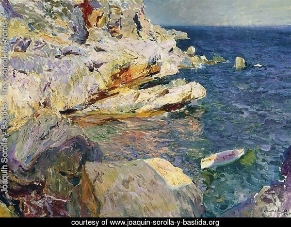 Rocks and white boat, Javea