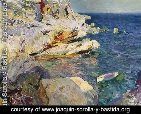Joaquin Sorolla y Bastida - Rocks and white boat, Javea