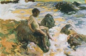 Joaquin Sorolla y Bastida - Boy in Sea Foam